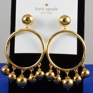 NWT Gold Bauble Ball Hoop Drop Earrings
